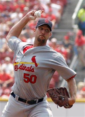 St. Louis Cardinals pitcher Adam Wainwright throws against the Cincinnati Reds in the second inning of a baseball game Wednesday, Aug. 11, 2010 in Cincinnati. (AP Photo/David Kohl) By David Kohl