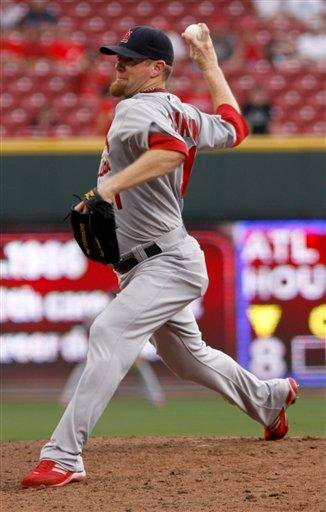 St. Louis Cardinals pitcher Ryan Franklin throws against the Cincinnati Reds in the ninth inning of a baseball game Wednesday, Aug. 11, 2010 in Cincinnati. The Cardinals won 6-1. (AP Photo/David Kohl) By David Kohl
