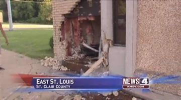 The scene where a car crashed into an office building at 89th and State Street in East St. Louis on August 11, 2010.