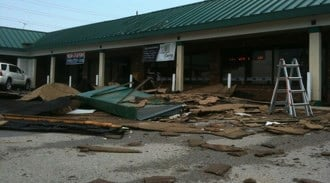 This is damage at a plaza at Highway 94. (August 12, 2010) By Lakisha Jackson