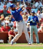 Chicago Cubs' Derek Lee follows through on a solo home run in a 3-2 win against the St. Louis Cardinals in the third inning in a baseball game on Saturday, Aug. 14, 2010 in St. Louis. (AP Photo/Bill Boyce) By Bill Boyce