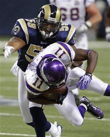 Minnesota Vikings wide receiver Jaymar Johnson, 11, is upended by St. Louis Rams linebacker Larry Grant, 59, during the first quarter of a preseason NFL football game Saturday, Aug. 14, 2010, in St Louis. (AP Photo/Seth Perlman) By Seth Perlman