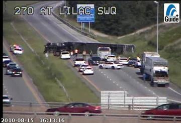 A truck overturned in the eastbound lanes of 270 near Lilac. By KMOV Web Producer
