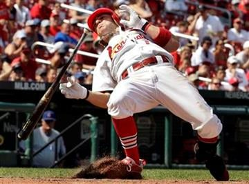 St. Louis Cardinals' Brendan Ryan gets out of the way of an inside pitch during the seventh inning of a baseball game against the Chicago Cubs on Sunday, Aug. 15, 2010, in St. Louis. The Cubs won 9-7. (AP Photo/Jeff Roberson) By Jeff Roberson