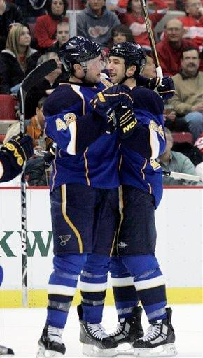 St. Louis Blues' BJ Crombeen, right, celebrates his second-period goal with teammate David Backus in an NHL hockey game against the Detroit Red Wings, Wednesday, March 30, 2011, in Detroit. (AP Photo/Duane Burleson) By Duane Burleson