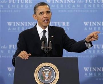President Barack Obama gestures while speaking about his plan for America's energy security, Wednesday, March 30, 2011, at Georgetown University in Washington. (AP Photo/Carolyn Kaster) By Carolyn Kaster
