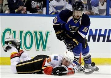 Calgary Flames' Matt Stajan, bottom, clears a loose puck as St. Louis Blues' Andy McDonald looks on during the first period of an NHL hockey game Friday, April 1, 2011, in St. Louis. (AP Photo/Jeff Roberson) By Jeff Roberson