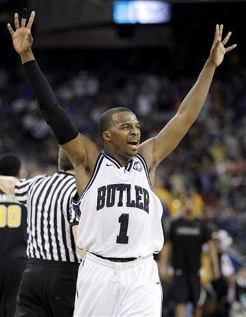 Butler's Shelvin Mack reacts after his team beat Virginia Commonwealth 70-62 at a men's NCAA Final Four semifinal college basketball game Saturday, April 2, 2011, in Houston. (AP Photo/Charlie Neibergall) By Charlie Neibergall