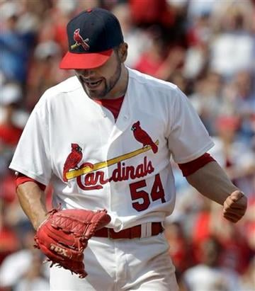 St. Louis Cardinals starting pitcher Jaime Garcia celebrates the Cardinals' 2-0 victory over the San Diego Padres in of a baseball game Sunday, April 3, 2011, in St. Louis. Garcia threw a four-hitter. (AP Photo/Jeff Roberson) By Jeff Roberson