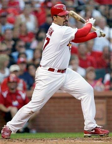 St. Louis Cardinals starting pitcher Jeff Suppan hits an RBI-single in the fourth inning of a baseball game against the Pittsburgh Pirates, Saturday, July 31, 2010, in St. Louis.(AP Photo/Tom Gannam) By Tom Gannam