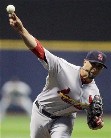 St. Louis Cardinals starting pitcher Kyle Lohse throws during the first inning of a baseball game against the Milwaukee Brewers on Tuesday, Sept. 7, 2010, in Milwaukee. (AP Photo/Morry Gash) By Morry Gash