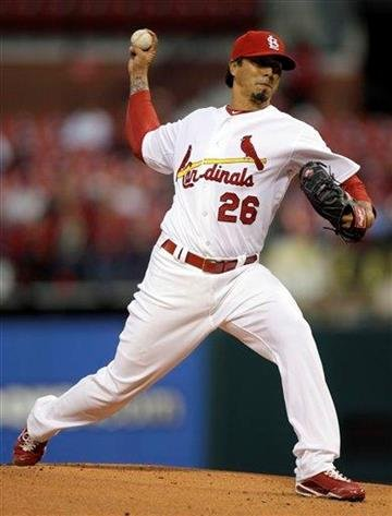 St. Louis Cardinals starting pitcher Kyle Lohse throws during the first inning of a baseball game against the Pittsburgh Pirates on Monday, April 4, 2011, in St. Louis. (AP Photo/Jeff Roberson) By Jeff Roberson
