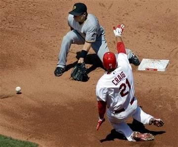 St. Louis Cardinals' Allen Craig (21) is safe at second as Pittsburgh Pirates shortstop Josh Rodriguez takes the throw during the fourth inning of a baseball game Wednesday, April 6, 2011, in St. Louis. (AP Photo/Jeff Roberson) By Jeff Roberson
