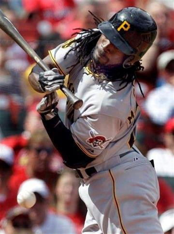 Pittsburgh Pirates' Andrew McCutchen is hit by a pitch during the seventh inning of a baseball game against the St. Louis Cardinals Wednesday, April 6, 2011, in St. Louis. (AP Photo/Jeff Roberson) By Jeff Roberson