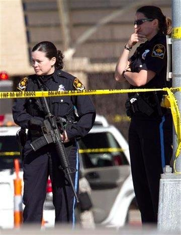 Police officers stand outside the Creighton University Medical Center, in Omaha, Neb., Wednesday, April 6, 2011, following a shooting inside the hospital. Omaha  police have arrested a suspect.  (AP Photo/Nati Harnik) By Nati Harnik