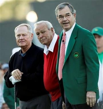 Billy Payne, right, chairman of Augusta National and the Masters, poses with Jack Nicklaus, left, and Arnold Palmer before the first round of the Masters golf tournament Thursday, April 7, 2011, in Augusta, Ga. (AP Photo/Chris O'Meara) By Chris O'Meara