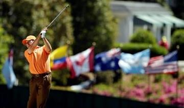 Jose Maria Olazabal of Spain watches his shot on the first fairway during the first round of the Masters golf tournament Thursday, April 7, 2011, in Augusta, Ga. (AP Photo/Charlie Riedel) By Charlie Riedel