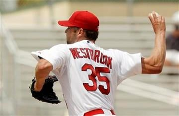 St. Louis Cardinals starting pitcher Jake Westbrook (35) throws during the fourth inning of a spring training baseball game against the Florida Marlins, Monday, March 28, 2011, in Jupiter, Fla. (AP Photo/Carlos Osorio) By Carlos Osorio