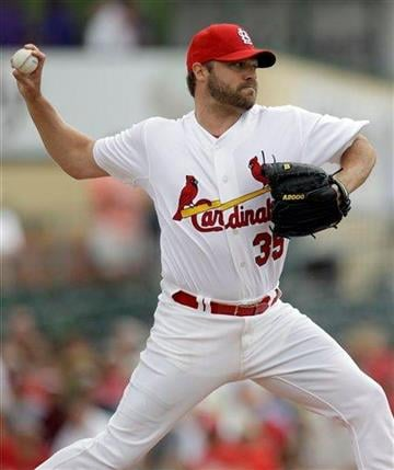 St. Louis Cardinals starting pitcher Jake Westbrook throws during the first inning of a spring training baseball game against the New York Mets, Wednesday, March 2, 2011, in Jupiter, Fla. (AP Photo/Jeff Roberson) By Jeff Roberson