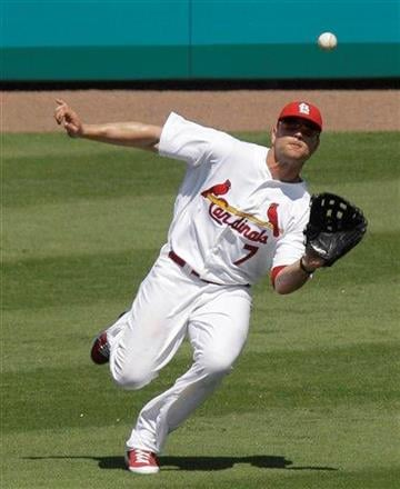 St. Louis Cardinals left fielder Matt Holliday makes a catch during a spring training baseball game against the Atlanta Braves, Monday, March 14, 2011, in Jupiter, Fla. (AP Photo/Carlos Osorio) By Carlos Osorio