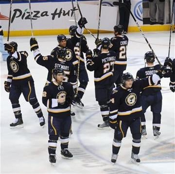 St. Louis Blues' acknowledge their fans after their final NHL hockey game of the season, against the Nashville Predators, on Saturday, April 9, 2011, in St. Louis. The Blues won 2-0(AP Photo/Bill Boyce) By Bill Boyce