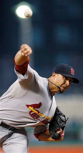 St. Louis Cardinals starting pitcher Kyle Lohse throws against the Pittsburgh Pirates in the first inning of a baseball game in Pittsburgh, Wednesday, Sept. 22, 2010. (AP Photo/Keith Srakocic) By Keith Srakocic