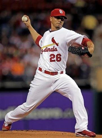 St. Louis Cardinals starter Kyle Lohse pitches in the first inning of a baseball game against the Pittsburgh Pirates, Monday, Sept. 27, 2010, in St. Louis.(AP Photo/Tom Gannam) By Tom Gannam