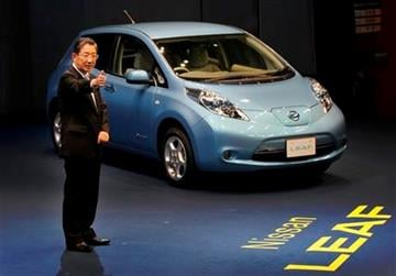 Nissan Motor Co. Chief Operating Officer Toshiyuki Shiga introduces the company's zero-emission electric car, Leaf, during a news conference at its headquarters in Yokohama, Japan, Friday, Dec. 3, 2010. (AP Photo/Itsuo Inouye) By Itsuo Inouye