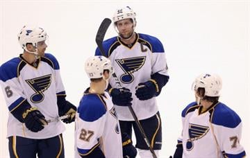 DALLAS, TX - JANUARY 26:  David Backes #42 of the St. Louis Blues at American Airlines Center on January 26, 2013 in Dallas, Texas.  (Photo by Ronald Martinez/Getty Images) By Ronald Martinez