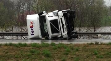Overturned truck on Interstate 70 near Highland, Ill. By Brendan Marks