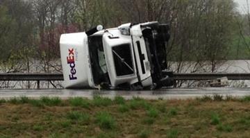 Overturned truck on Interstate 70 near Highland, Ill. By Brendan Marks