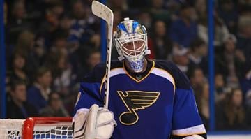 FILE PHOTO -- Brian Elliott #1 of the St. Louis Blues reacts to giving up his fifth goal of the game against the Anaheim Ducks at the Scottrade Center on February 9, 2013 in St. Louis, Missouri. (Photo by Dilip Vishwanat/Getty Images) By Dilip Vishwanat