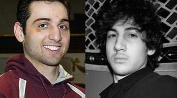 Federal authorities have asked to speak with the wife of suspected Boston Marathon bomber Tamerlan Tsarnaev (left), who is seen here next to a picture of his brother, Tsarnaev. By Brendan Marks