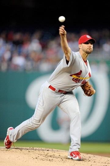 WASHINGTON, DC - APRIL 23:  Adam Wainwright #50 of the St. Louis Cardinals pitches in the second inning against the Washington Nationals at Nationals Park on April 23, 2013 in Washington, DC.  (Photo by Greg Fiume/Getty Images) By Greg Fiume