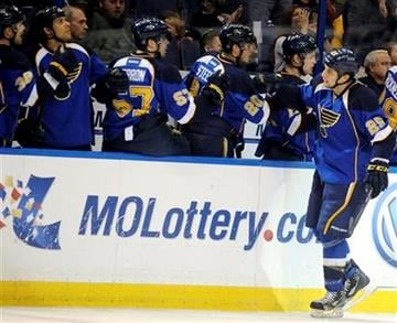 St. Louis Blues' Chris Stewart (25) is congratulated by the Blues' bench after his goal against the Colorado Avalanche in the first period of an NHL hockey game Tuesday, April 23, 2013, in St. Louis. (AP Photo/Bill Boyce) By Bill Boyce