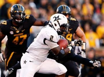 COLUMBIA, MO - OCTOBER 06:  Running back Zac Stacy #2 of the Vanderbilt Commodores carries the ball during the game against the Missouri Tigers on October 6, 2012 in Columbia, Missouri.  (Photo by Jamie Squire/Getty Images) By Jamie Squire