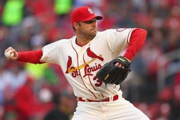 ST. LOUIS, MO - APRIL 27: Starter Jake Westbrook #35 of the St. Louis Cardinals pitches against the Pittsburgh Pirates at Busch Stadium on April 27, 2013 in St. Louis, Missouri.  (Photo by Dilip Vishwanat/Getty Images) By Dilip Vishwanat