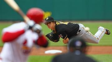 ST. LOUIS, MO - APRIL 28: Starter Jeff Locke #49 of the Pittsburgh Pirates pitches against the St. Louis Cardinals at Busch Stadium on April 28, 2013 in St. Louis, Missouri.  (Photo by Dilip Vishwanat/Getty Images) By Dan Mueller