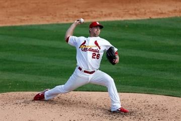 JUPITER, FL - FEBRUARY 28:  Trevor Rosenthal #26 of the St. Louis Cardinals pitches against the Miami Marlins at the Roger Dean Stadium on February 28, 2013 in Jupiter, Florida.  (Photo by Chris Trotman/Getty Images) By Chris Trotman