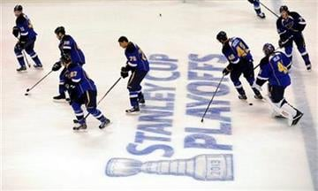 St. Louis Blues players warm up before Game 1 of their first-round NHL hockey Stanley Cup playoff series against the Los Angeles Kings, Tuesday, April 30, 2013, in St. Louis. (AP Photo/Bill Boyce) By Bill Boyce