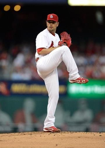 ST. LOUIS, MO - APRIL 30: Jaime Garcia #54 of the St. Louis Cardinals throws to a Cincinnati Reds batter during the second inning at Busch Stadium on April 30, 2013 in St. Louis, Missouri.  (Photo by Jeff Curry/Getty Images) By Jeff Curry
