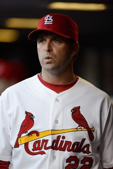 ST. LOUIS, MO - APRIL 30: Mike Matheny #22 of the St. Louis Cardinals looks on before a game against the Cincinnati Reds at Busch Stadium on April 30, 2013 in St. Louis, Missouri.  (Photo by Jeff Curry/Getty Images) By Jeff Curry