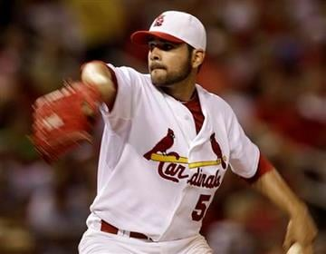 St. Louis Cardinals starting pitcher Jaime Garcia throws during the seventh inning of a baseball game against the Milwaukee Brewers  Friday, July 2, 2010, in St. Louis. (AP Photo/Jeff Roberson) By Jeff Roberson