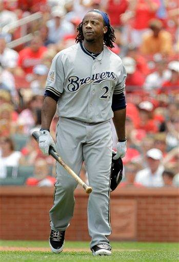 Milwaukee Brewers' Rickie Weeks walks off the field after being ejected during the third inning of a baseball game against the St. Louis Cardinals Sunday, July 4, 2010, in St. Louis. (AP Photo/Jeff Roberson) By Jeff Roberson