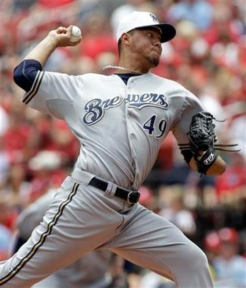 Milwaukee Brewers starting pitcher Yovani Gallardo throws during the first inning of a baseball game against the St. Louis Cardinals Sunday, July 4, 2010, in St. Louis. The Cardinals won 7-1. (AP Photo/Jeff Roberson) By Jeff Roberson