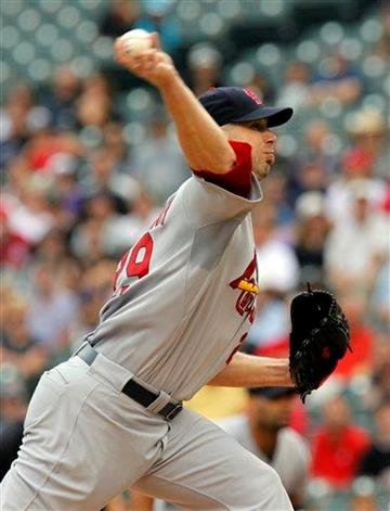 St. Louis Cardinals starting pitcher Chris Carpenter works the first inning of a baseball game against the Colorado Rockies at Coors Field in Denver on Thursday, July 8, 2010. (AP Photo/Ed Andrieski) By Ed Andrieski