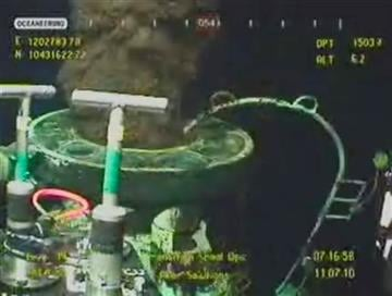In this image taken from video provided by BP PLC, oil leaks from the broken wellhead at the site of the Deepwater Horizon oil well in the Gulf of Mexico, Sunday, July 11, 2010.   (AP Photo/BP PLC) NO SALES By Anonymous