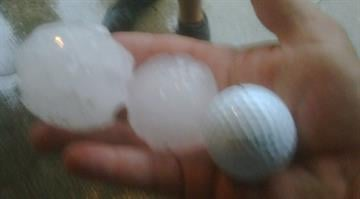 Hail larger than golf balls fell in Osage Beach, Mo. By KMOV Web Producer