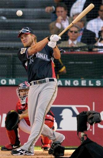 The Milwaukee Brewers' Corey Hart hits the ball during baseball's All-Star home run derby Monday, July 12, 2010, in Anaheim, Calif. (AP Photo/Jae C. Hong) By Jae C. Hong