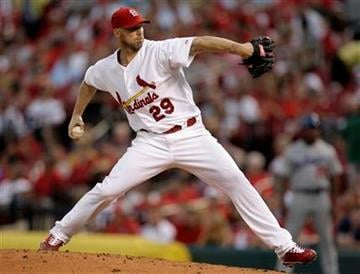 St. Louis Cardinals starting pitcher Chris Carpenter throws during the fourth inning of a baseball game against the Los Angeles Dodgers on Thursday, July 15, 2010, in St. Louis. (AP Photo/Jeff Roberson) By Jeff Roberson